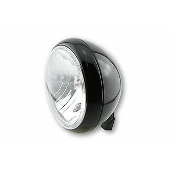 Classic Motorcycle Headlight 7 Inch Gloss Black Traditional Style Halogen