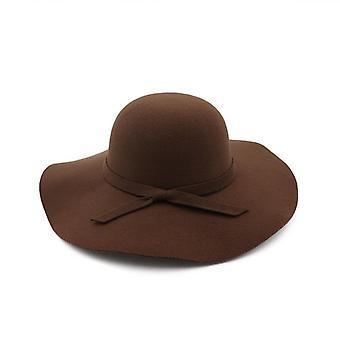 Frauen Eimer Cap weiche Vintage breite Krempe Wolle Filz Bowler Fedora Hut