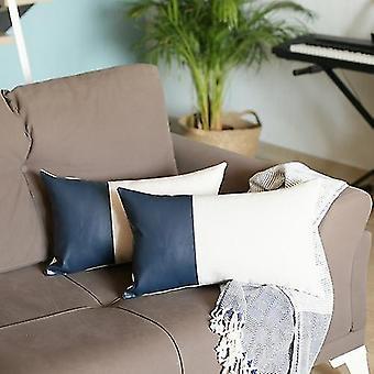 Decorative Vegan Faux Leather Lumbar Pillow Cover