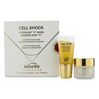 """Swissline Cell Shock Overnight """"V"""" Mask: Sculpting Patch-Mask 35ml/1.17oz + Lifting Infusion-Mask 30ml/1oz (Exp. Date 05/2021) 2pcs"""