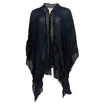 Rachel Hollis Ltd Women's Top Open Front Printed Kimono Blue A365632