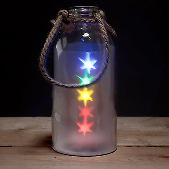 Decorative LED Glass Light Jar - Coloured Stars with Rope
