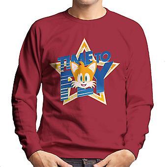Sonic The Hedgehog Tails innostunut aika lentää Men's Collegeshirt