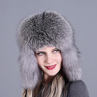 Fur Hat, Natural Raccoon Fox Hats, Winter Thick Warm Ears, Bomber Cap
