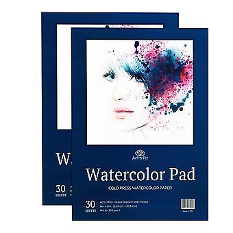 60 Feuilles 9 x 12 papier aquarelle a4 (140lb - 300gsm) plient sur le tampon d'aquarelle de presse froide de conception -
