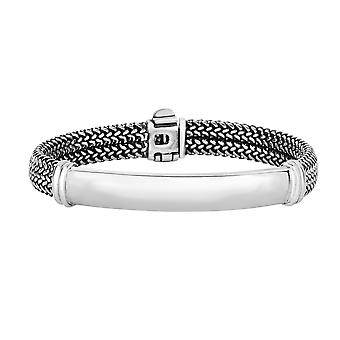 Sterling Silver With Oxidized Finish Domed Woven Mens Bracelet, 8.25""