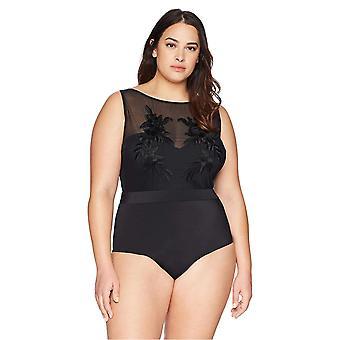 Coastal Blue Women's Plus Size High Neck Mesh Embriodered One Piece Swimsuit, Ebony, 1X