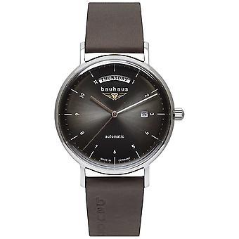 Bauhaus Men's Black Italian Leather Strap | Black Dial | Automatic | Day/Date 2162-2 Watch