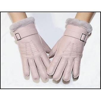 Children's Sheepskin Wool Winter Warmth Thickening Real Primary School Gloves