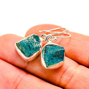 "Rough Chrysocolla In Quartz Earrings 1 1/4"" (925 Sterling Silver)  - Handmade Boho Vintage Jewelry EARR411101"