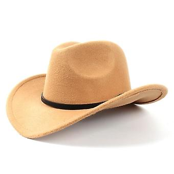 Fashion Wool Women's Men's Western Cowboy Hat For Gentleman Lady Winter Jazz
