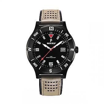 Watch Ruckfield 685019 - Dateur Bo tier Steel Black Leather Bracelet Brown and Black Men