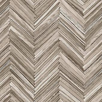 Taupe Distressed Wood Chevron Rasch Wallpaper