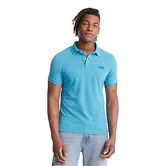 Superdry Classic Pique Short Sleeve Polo Shirt - Electric Blue Grit