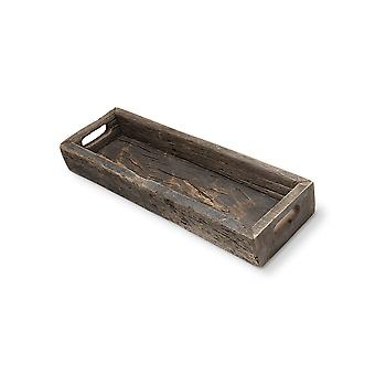 Small Natural Brown Reclaimed Wood With Grains And Knots Highlight Tray