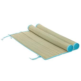 2x Straw Beach Mats Roll Up Camping Hiking Picnic Blanket 60 x 178cm Aqua