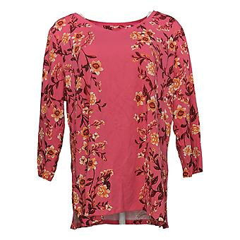 إسحاق مزراحي لايف! Women's Top Floral V-Neck Tunic Pink A379739
