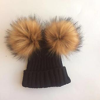 Winter Toddler Kids Faux Cap, Beanie With 2 Pom Ears For And
