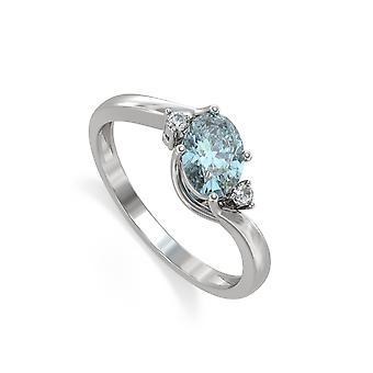 ADEN 925 Silver Aquamarine Diamonds Ring (id 5220)