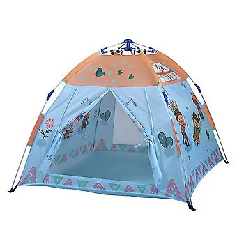 Boys Playing Pop Up Tent Indoor Ocean Ball Pool Toyskids Tent Playhouse Blue
