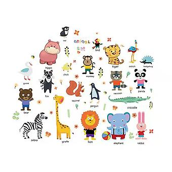 3pcs,children's Bedroom Classroom Background Wall Animal Car Stickers, Puzzle, Early Education Toys