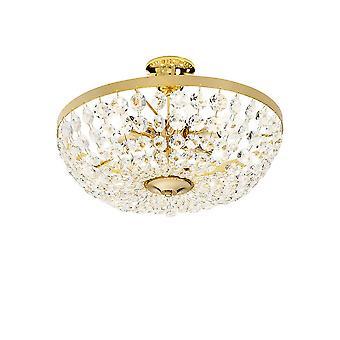 Lámpara de techo clásica de oro pulido, 6x E14