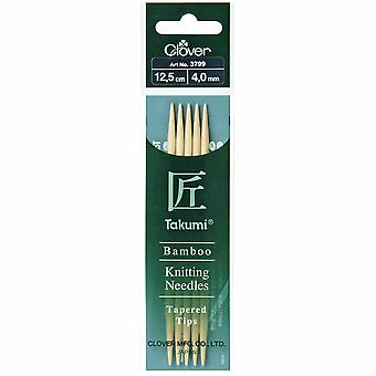 Clover Knitting Pins: Double-Ended: Set of Five: Takumi Bamboo: 12.5cm x 4.00mm