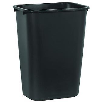 DZK FG295700BLA Commercial 10.25gal Soft Molded Plastic Rectangular Trash Can, 39 Litre, Black