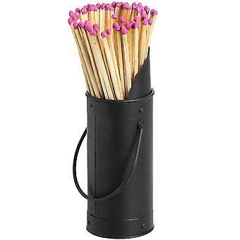 Hill Interiors Black Steel Matchstick Holder & 60 Matches Set