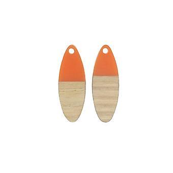 Final Sale - Zola Elements Wood & Resin Pendant, Marquise 10x28mm, 2 Pieces, Tangerine Orange