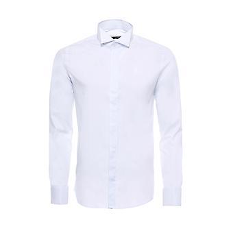 Beyaz düz desensiz ata yaka damatlık gömlek