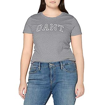 GANT Arch Logo Capsleeve T-Shirt, Grey (Grey Melange 93), Small Woman