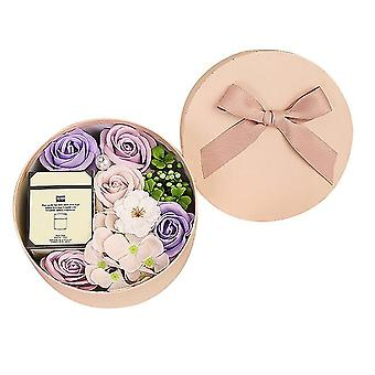 Valentine's Day Diy Soap Flower Candle Gift Rose Box Bouquet Wedding Family Gift Artificial(purple)