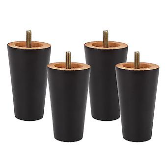 For 4pcs 10x5.8x4cm Tapered Wooden Furniture Legs w/ Screw Rod M* for Table WS628