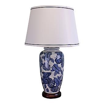 Sininen & valkoinen keraaminen lamppu puisella alustalla 70cm