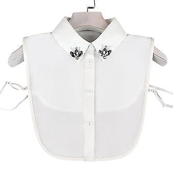צווארון מזויף ריינסטון להסרה חולצה משובצת חצי חולצות