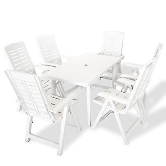 vidaXL 7-tlg. Groupe de jardin en plastique blanc