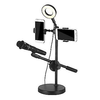 Selfie Ring Light with Phone Holder and Microphone Stand 3 Light Modes 9 Brightness Level