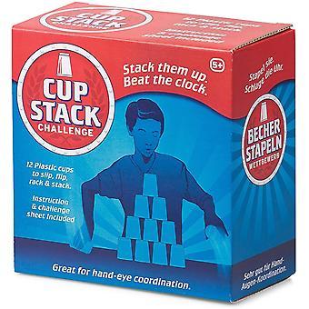 19611 Becher Stapel Herausforderung Cup Stacker Challange 12 Stackbecher, blau oder rot