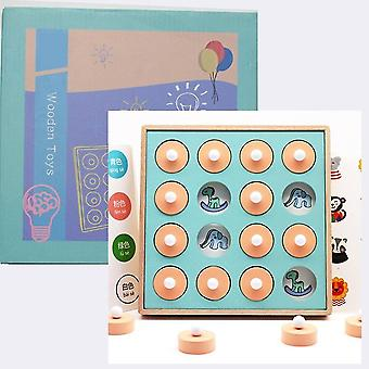 Wooden Colorful Puzzles Board Memory Chess Game Educational Toys Hands Brain Training Clip Beads