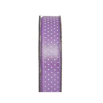 LAST FEW - 3m Lilac Mist 10mm Wide Polka Dotted Satin Craft Ribbon