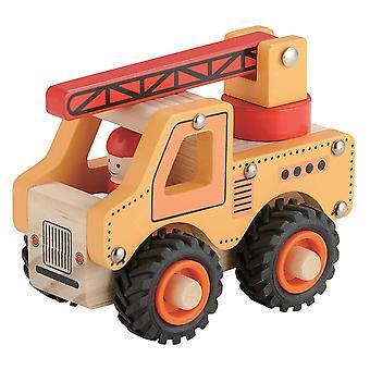 Traditionel boxed push langs træ brandbil for børn