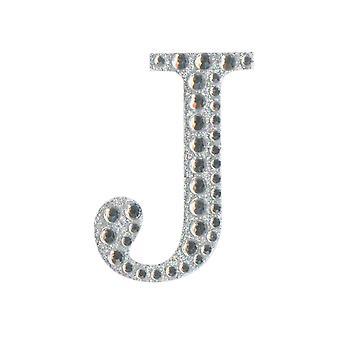 5cm Klar Selvklebende Diamante Bokstaver - J | Diamante Edelstener Utsmykninger