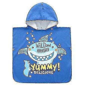 Plage à séchage rapide Manteau Taille libre Impression Serviette de bain Peignoir pour enfants (Requin)