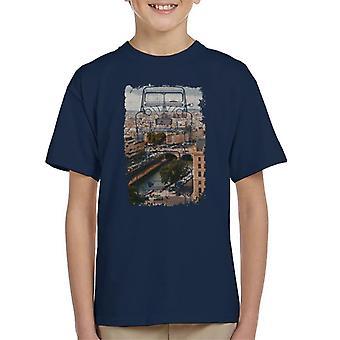 Citroen 2CV Retro ritning över Paris Kid T-Shirt