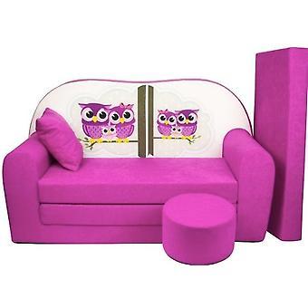 Kinder slaapbank set - logeermatras - sofa - 170 x 100 x 8 - slaapbank - roze - uiltjes