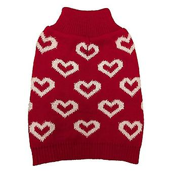 Fashion Pet All Over Hearts Dog Sweater Red - X-Small