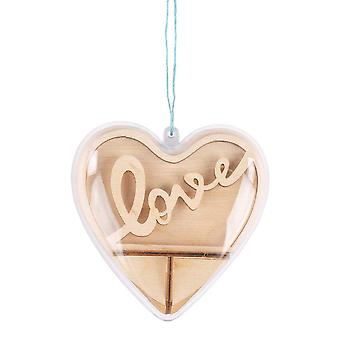 3D 10cm Wooden 'Love' Heart Plastic Bauble Craft Kit   Makes One