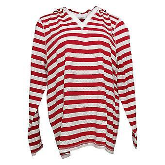 Denim & Co. Pull Femme Active Mesh Stripe Pull capuche Rouge A254232