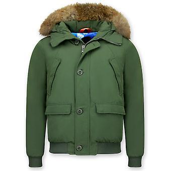 Winter coat Short - With Fur Collar - Green
